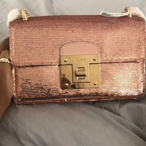 Sparkling Pink Shoulder bag can  use as a clutch